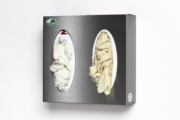 The 2-fold wall rack is suitable for storing boxes for gloves and mouth masks.
